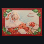 """Santas Sleigh Ride Vintage Christmas Placemat<br><div class=""""desc"""">Here comes Santa Claus through snow and blizzard on Christmas Eve on this wonderful Holiday Placemat.</div>"""