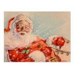 Santas Sleigh Ride Vintage Postcard