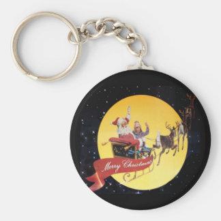 Santa's Sleigh Vintage Keychain