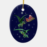 Santa's Sleigh with Dragons Double-Sided Oval Ceramic Christmas Ornament