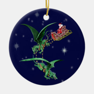 Santa's Sleigh with Dragons Double-Sided Ceramic Round Christmas Ornament