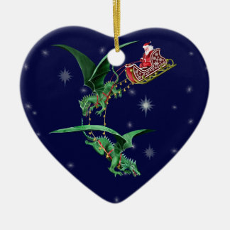 Santa's Sleigh with Dragons Double-Sided Heart Ceramic Christmas Ornament
