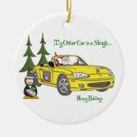 Santa's Sleigh-Yellow Ceramic Ornament