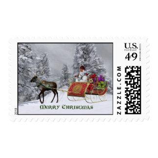 Santa's Sliegh & Reindeer- Christmas, Santa, Stamps
