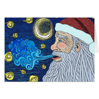 Santa's Starry Night in color Cards