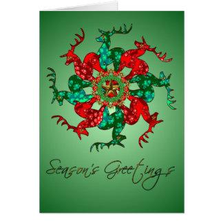 Santa's Stars Blank Card Green