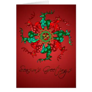 Santa's Stars Blank Card Red
