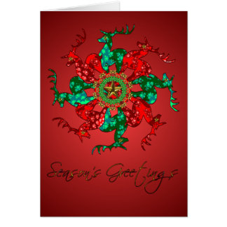 Santa's Stars Greeting Card Red