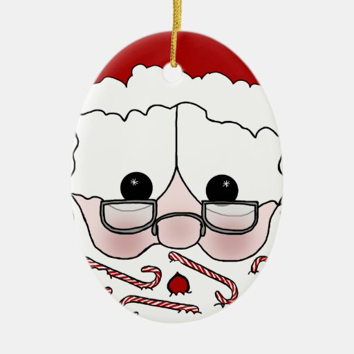 Santa's Sweet Cheeks-Candy Cane Beard Christmas Tree Ornament