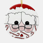 Santa's Sweet Cheeks-Candy Cane Beard Double-Sided Ceramic Round Christmas Ornament
