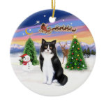 Santas Take Off - Black and White cat (ASH) Christmas Tree Ornaments