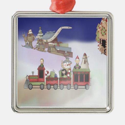 Santa's Train Square Metal Christmas Ornament
