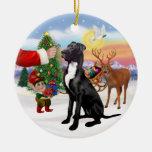 Santas Treat - Black Great Dane Double-Sided Ceramic Round Christmas Ornament