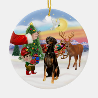 Santa's Treat - Doberman Pinscher (natural ears) Ceramic Ornament