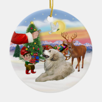 Santas Treat - Great Pyrenees Ceramic Ornament