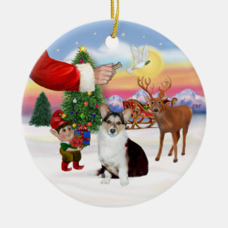 Santa's Treat  - Welsh Corgi (tri color) Double-Sided Ceramic Round Christmas Ornament
