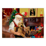 Santas Two Airedales Cards