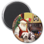 Santa's Two Bearded Collies Magnets