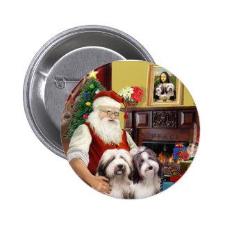 Santa's Two Bearded Collies Pinback Button