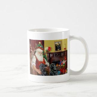 Santa's Two Flat Coated Retrievers Mugs