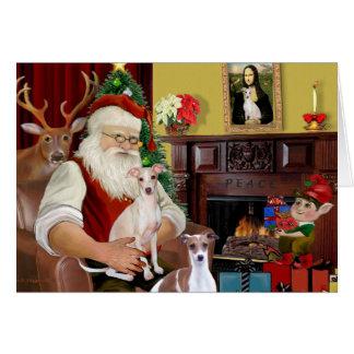 Santa's Two Italian Greyhounds Greeting Card