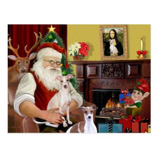 Santa's Two Italian Greyhounds Postcard