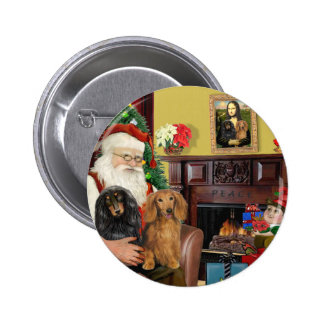 Santa's Two Long Haired Dachshunds Button
