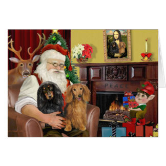 Santa's Two Long Haired Dachshunds Card
