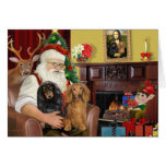 Santa's Two Long Haired Dachshunds Greeting Cards