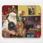 Santa's Two Long Haired Dachshunds Mousepads