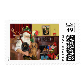 Santa's Two Long Haired Dachshunds Stamp