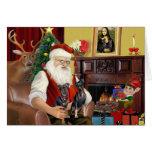 Santa's Two Miniature Pinschers. Card