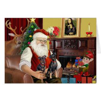 Santa's Two Miniature Pinschers. Greeting Card