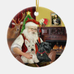 Santa's TWO Scottish Terriers Christmas Ornaments