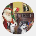 Santa's Two Siberian Huskies Round Stickers