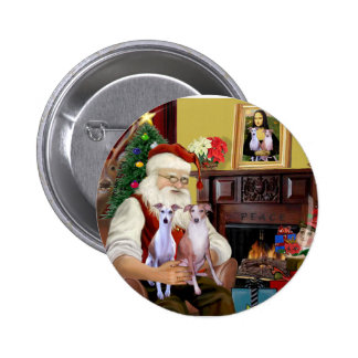 Santa's Two Whippets 2 Inch Round Button