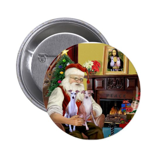 Santa's Two Whippets Pinback Button