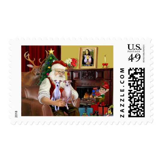 Santa's Two Whippets Postage