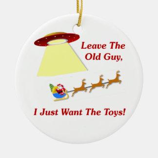 Santa's UFO Encounter Ceramic Ornament