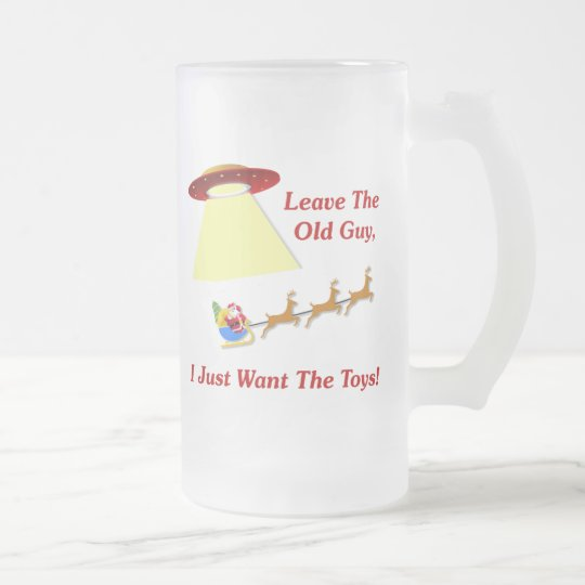 Santa's UFO Encounter Frosted Glass Beer Mug