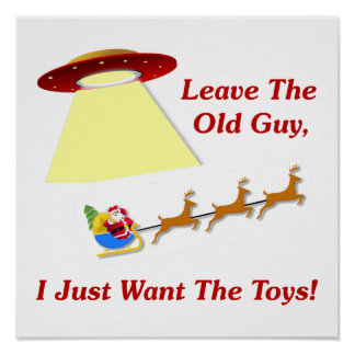 Santa's UFO Encounter Poster