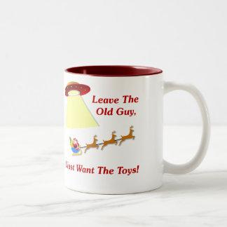 Santa's UFO Encounter Two-Tone Coffee Mug