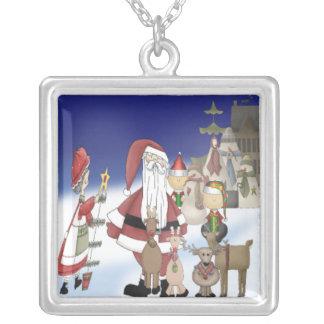 Santa's Village Square Pendant Necklace