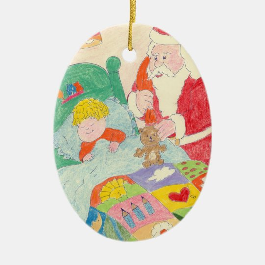 Santa's Visit Ceramic Ornament