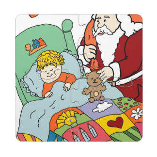 Santa's Visit II Puzzle Coaster