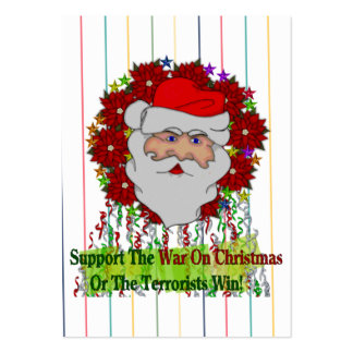 Santa's War On Xmas Large Business Cards (Pack Of 100)
