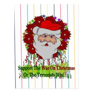 Santa's War On Xmas Postcard