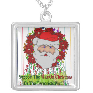 Santa's War On Xmas Square Pendant Necklace