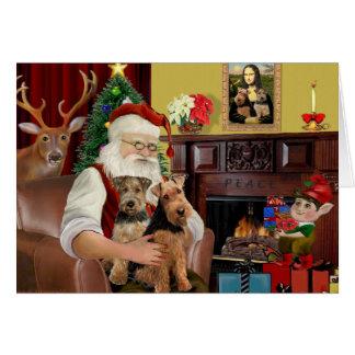 Santa's Welsh Terriers (TWO) Greeting Card