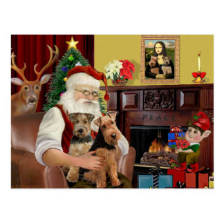 Santa's Welsh Terriers (TWO) Postcards